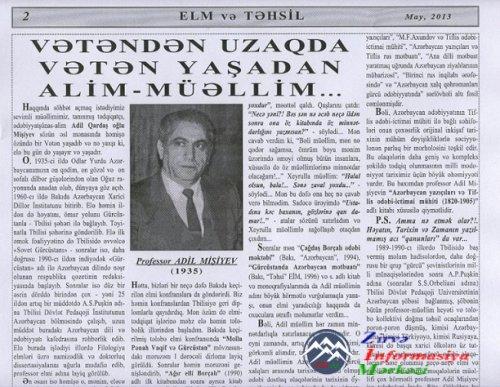 VƏTƏNDƏN UZAQDA VƏTƏN YAŞADAN ALİM-MÜƏLLİM - ADİL MİŞİYEV...