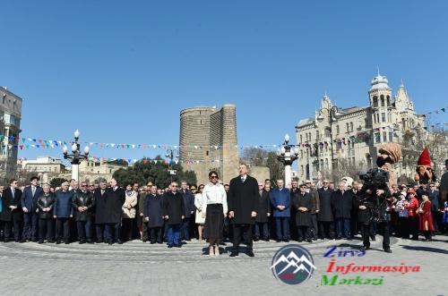 Prezident İlham Əliyev Novruz bayramı münasibətilə ümumxalq şənliyində işti ...