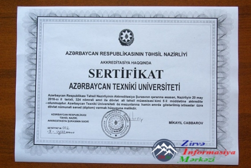 AzTU-ya növbəti 5 il üçün akkreditasiya sertifikatı verilib