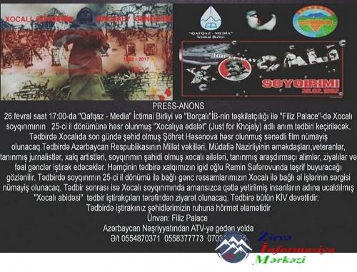 """""""Qafqaz- Media"""" və """"Borçalı"""" İctimai Birlikləri """"Xocalıya ədalət!"""" adlı anım tədbiri keçirəcək"""